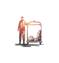 hotel service luggage welcome concierge vector image