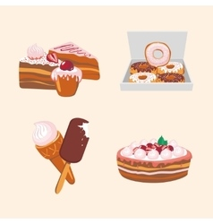 Icon set with sweets Cartoon food vector