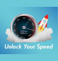 Internet speed test meter with rocket vector
