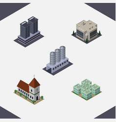 Isometric urban set of clinic company chapel and vector