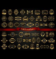 Large collection dark gold-framed labels vector