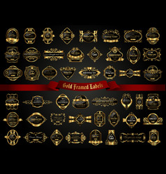 Large collection of dark gold-framed labels vector