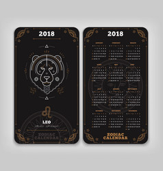 leo 2018 year zodiac calendar pocket size vertical vector image