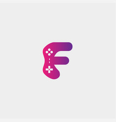 Letter f game logo design template gamepad icon vector