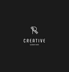 Letter r line creative business logo design vector