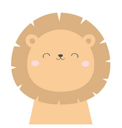 Lion face head icon kawaii animal cute cartoon vector