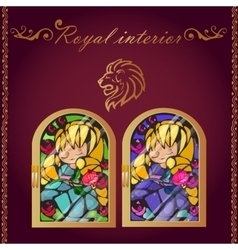 Lion head and mosaic picture in a gold frame vector image