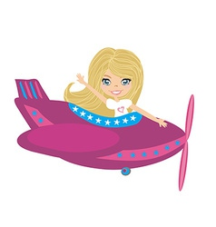 Little girl Operating a Plane vector image
