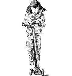 Little shoolgirl riding a scooter vector