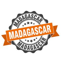madagascar round ribbon seal vector image