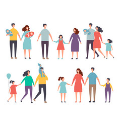 male and female couples children and family vector image
