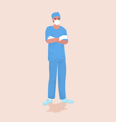 Male doctor surgeon in protective mask and gloves vector