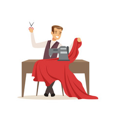 male dressmaker with a sewing machine clothing vector image