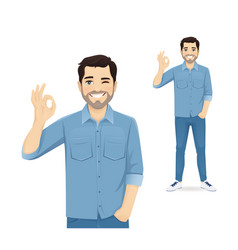 man gesturing ok sign vector image