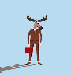 Man with a deer head irony sarcasm caricature vector