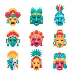 Maya civilization icons set vector