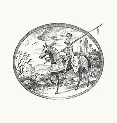 medieval armed knight riding a horse historical vector image