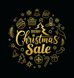 merry christmas sale message with icons golden vector image