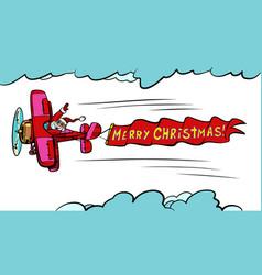 merry christmas santa claus on plane vector image