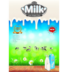 milk ads green field and cows background vector image