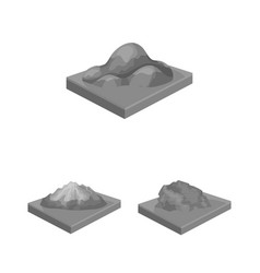 Mountains massive monochrome icons in set vector