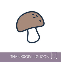 mushroom icon harvest thanksgiving vector image