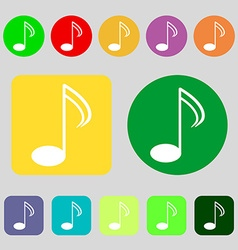Music note sign icon Musical symbol 12 colored vector