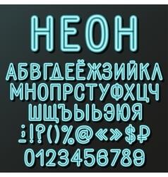 Neon cyrillic alphabet vector