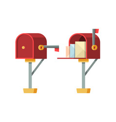open mailbox post letterbox with envelopes vector image