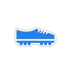 Paper sticker on white background soccer shoes vector