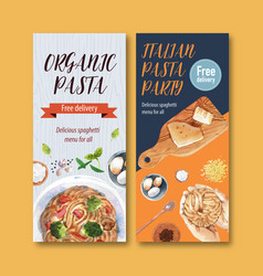 Pasta flyer design with hands garlic vector