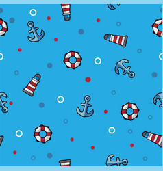 pattern sea lighthouse lifebuoy and anchor on vector image