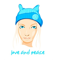 Peace girl vector