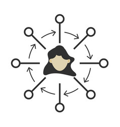 People connection icon partnership network sign vector