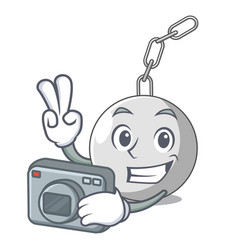 Photographer wrecking ball isolated on a mascot vector