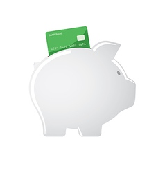 Piggy bank accepting credit cards vector image vector image