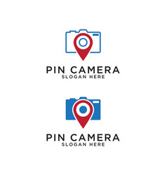 Pin map and camera logo design template vector