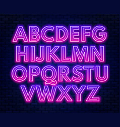 pink purple gradient neon alphabet on a dark vector image