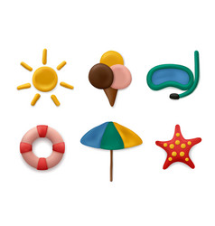 Plasticine modeling summer objects clay artwork vector