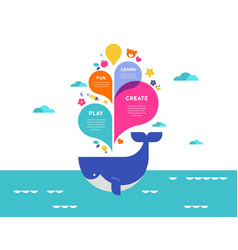 Poster with colorful splashes and whale vector