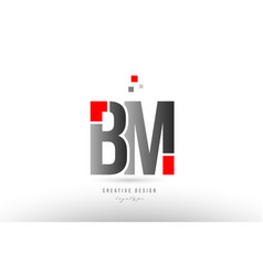Red grey alphabet letter bm b m logo combination vector