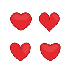 red hearts icons vector image