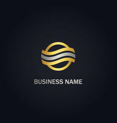 round line circle company gold logo vector image