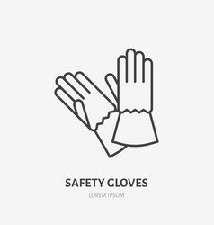 safety gloves flat line icon protective work vector image