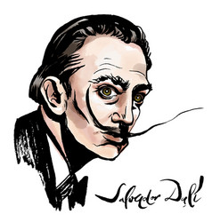 Salvador dali watercolor portrait vector