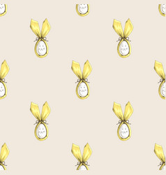 seamless easter bunny ears pattern vector image