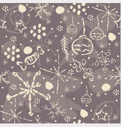 seamless winter pattern with hand drawn spruce vector image