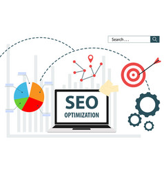 Seo optimization flat web analytics vector