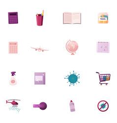 Set icons calculator pencils and book money vector