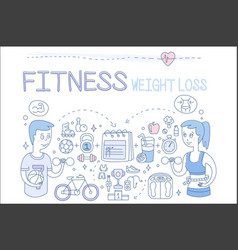 Set of doodle icons related to fitness vector